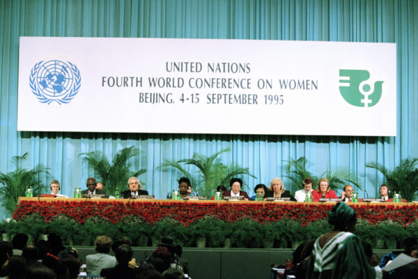 Fourth World Conference on Women Opens in Beijing The head table at the opening day of the Unitd Nations Fourth World Conference on Women. Seated centre, fifth from left is Chen Muhua (China), President of the Conference. 04 September 1995 Beijing, China Photo # 66728   UN Photo/Yao Da Wei