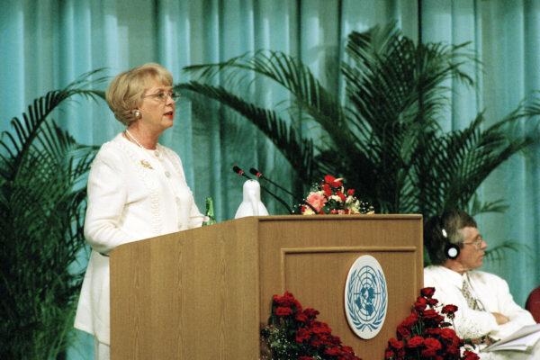 Iceland Addresses Fourth World Conference on Women Vigdis Finnbogadottir, President of Iceland, addresses opening of the Fourth World Conference on Women in Beijing. 04 September 1995 Beijing, China Photo # 66730   UN Photo/Milton Grant