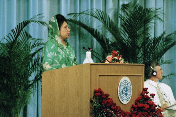 Prime Minister of Bangladesh Addresses Fourth World Conference on Women Begum Khaleda Zia, Prime Minister of the People's Republic of Bangladesh, addresses the opening of the Fourth World Conference on Women in Beijing. 04 September 1995 Beijing, China Photo # 66731  UN Photo/Milton Grant