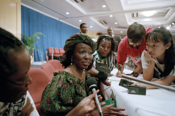 Fourth World Conference on Women Opens in Beijing Nana Konadu Agyeman Rawlings, First Lady of Ghana, addresses correspondents in a meeting on Education, Health and Sustainable Development at the United Nations Fourth World Conference on Women held in Beijing, China.  03 September 1995 Beijing, China Photo # 66745  UN Photo/Chen Kai Xing